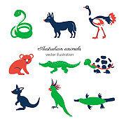Australian wild animals, colorful vector cartoon illustration, decorative mammal set koala bear, kakadu, green snake, kangaroo, dog dingo, crocodile, for design zoo alphabet, invitation, greeting card