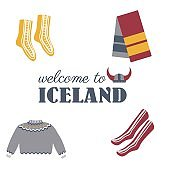 Icelandic national winter clothes isolated on white, decorative woolen jumper, socks and scarf, scandinavian colorful symbols, cartoon flat style european icons accessory set for travel design