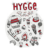 Hygge set elements hand drawn vector illustration. Isolated on white background. Cartoon style.