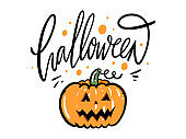 Halloween hand drawn vector illustration. Isolated on white background.