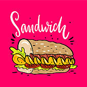 Sandwich hand drawn vector illustrtion and lettering. Cartoon style. Isolated on pink background.