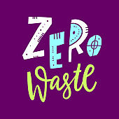 Zero waste hand drawn vector lettering logo. Isolated on purple background.