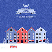 Norwegian travel cartoon vector winter greeting card, Norway landmark Bryggen, Bergen, Scandinavian decorative cityscape flat style, urban landscape for holiday design, poster with european building