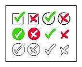 Vector checkmark and cross icon set.