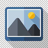 Picture icon in flat style with long shadow on transparent background