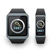 Smart watch and activity fitness tracker with steps counter app on screen. Vector illustration