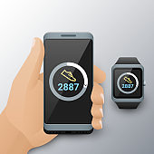 Smartphone in hand and smart watch with counting steps app. Walk steps counter app on cellphone and fitness tracker screen