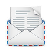 New message, mail or email icon. Opened envelope with letter. Vector illustration on white background