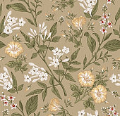 Seamless pattern Beautiful blooming realistic isolated flowers. Vintage background. Jasmine, Petunia, Croton wildflowers. Wallpaper baroque. Drawing, engraving. Vector victorian illustration.