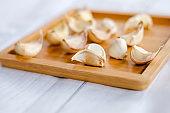 Garlic Cloves Wooden Board Close