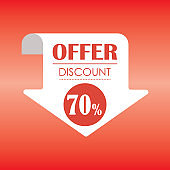 Save up to 70%. Discount Sale offer price sign. - Illustration