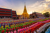 Colorful Lamp Festival and Lantern in Loi Krathong at Wat Phra That Hariphunchai