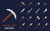 Set of vector pixel art tools icons. Axe, pick, sword, hoe, lance, knife - isolated game design inventory illustration