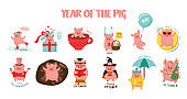 Monthly creative calendar 2019 with cute pig. Symbol of the year in the Chinese calendar. Cartoon. Isolated. Vector illustration.