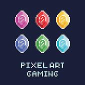 pixel art style vector illustration set - diamonds of different colors