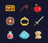 Vector pixel art illustration isons for fantasy adventure game development, magic staff, sword, food, chest, spell, ring, potion