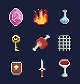 Vector pixel art illustration isons for fantasy adventure game development, gem, fire, potion, key, meat, gate, shield, sword, bowl