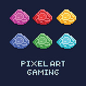 pixel art style vector illustration set of ore gems of different colors