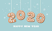Cartoon gingerbread New Year banner greeting card with number 2020 made of cookies. Vector illustration.
