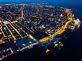 Night aerial view of downtown of Lisbon