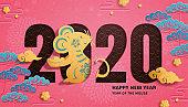Cute year of the rat paper art