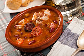 Beans stewed with chorizo and sausages