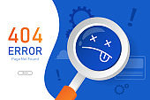 404  error page not found vector with magnifying glass graphic  design template for website background graphic