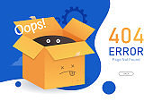 404  error page not found vector with box graphic  design template for website background graphic