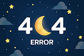 404 error with the moon ,cloud and stars vector on night sky background graphic