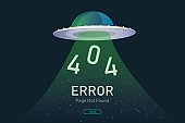 404  error page not found vector with UFO graphic  design template for website background graphic