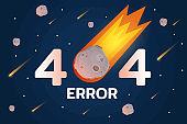 404 error with meteorite, stars and meteort in space background