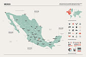 Vector map of Mexico. Country map with division, cities and capital. Political map,  world map, infographic elements.