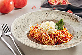 Classical Italian spaghetti with Amatriciana sauce