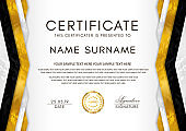 Certificate template with geometry frame and gold badge. White background
