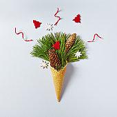 Ice Cream Cone with Christmas Decoration