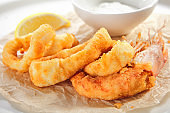 Breaded Fried Squid Rings and Shrimp with Tartar Sauce