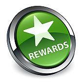 Rewards (star icon) 3d soft green round button