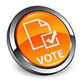 Vote (survey icon) 3d orange round button