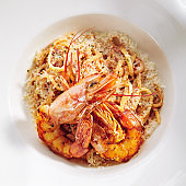 Classic Linguine Pasta with Grated Parmesan Cheese and Fried Shrimps