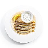 Fried Rainbow Smelt Fish with Tartar Sauce Isolated