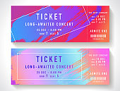 Admission ticket template. Vector mockup concert ticket (tear-off) with colorful art paint brush