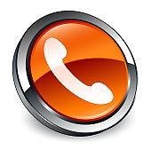 Phone icon 3d brown round button