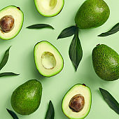Avocado pattern on color background