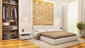 Modern bedroom interior design with dressing room