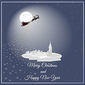 Greeting card Merry Christmas and Happy New Year with Santa flying over a small town with a church.