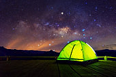 Camping tent at night.
