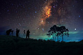 Silhouette man and Milky way