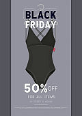 Black Friday Sale. Concept for poster, banner, flyer. Lingerie sale