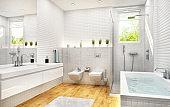 Modern white mosaic bathroom
