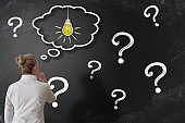 finding solution to problem or answer to question concept